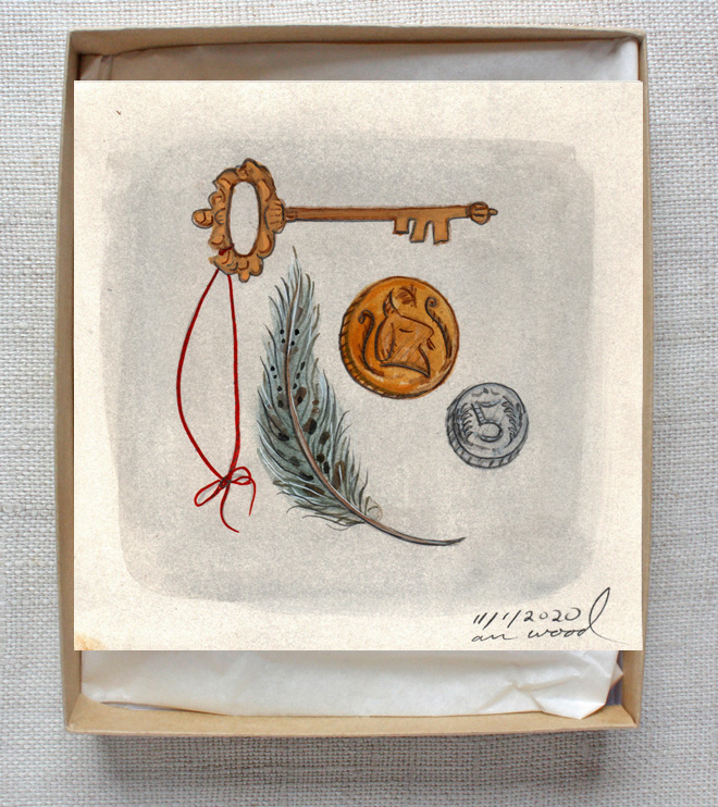 small painting : key, coins, feather