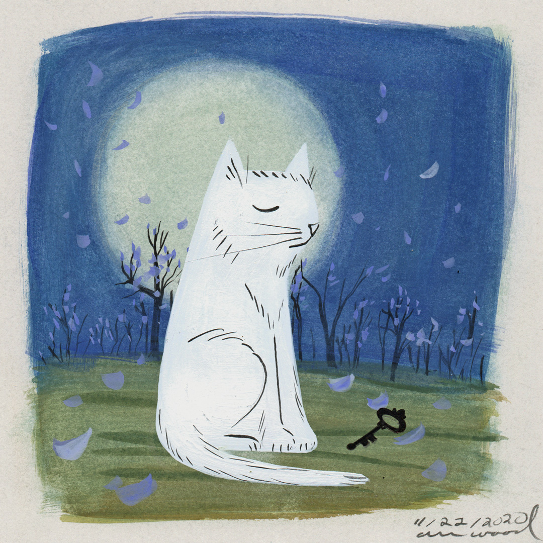\small painting : cat and moon