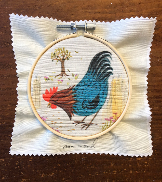 embroidery - blue rooster stitch painting
