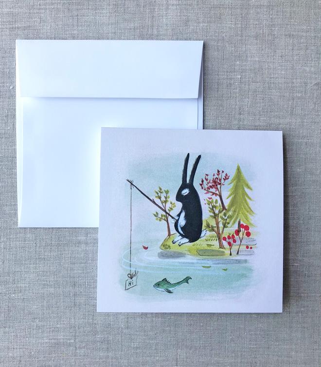 fishing bunny notecards