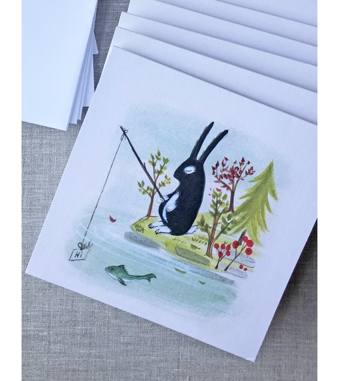 bunny and fish note card
