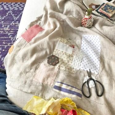 mending a linen smock