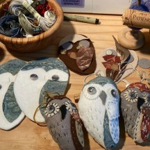 handmade scrap owls in progress