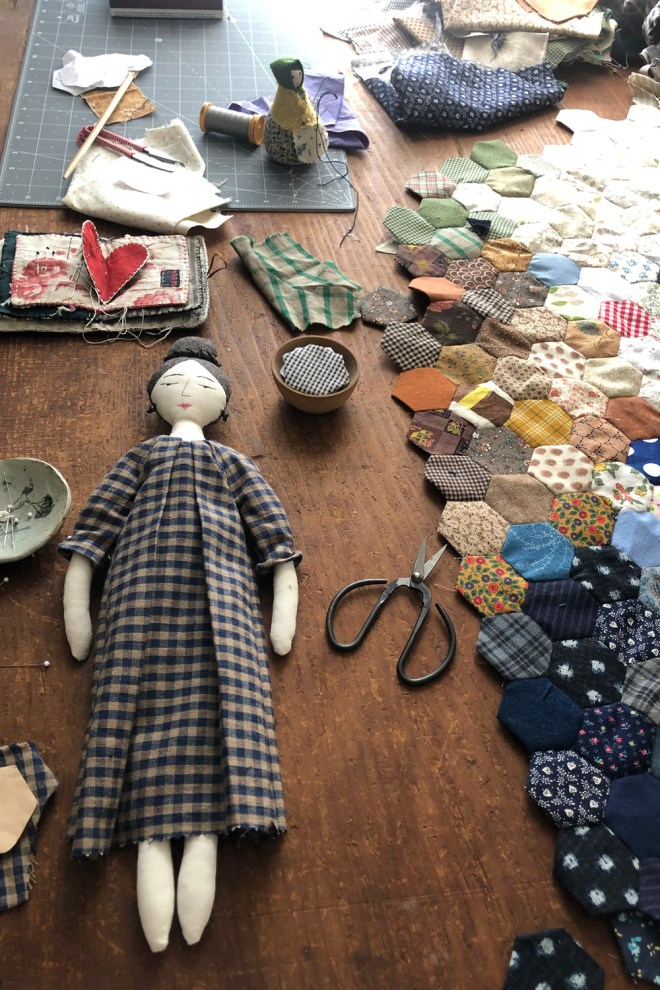 doll dress making on my worktable