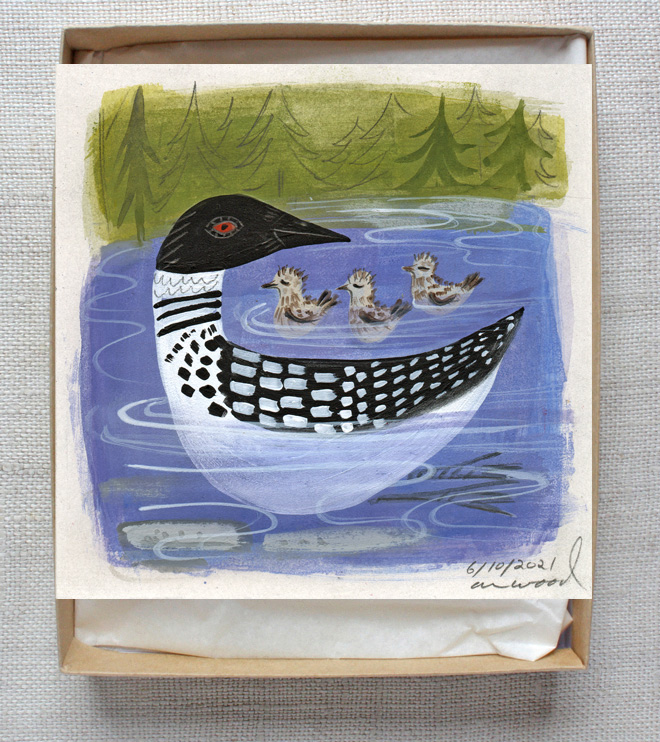 small painting of a loon with babies