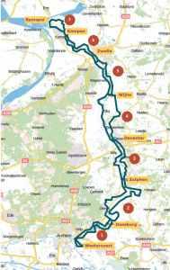 Kaart met etappes Fietsen langs de IJssel