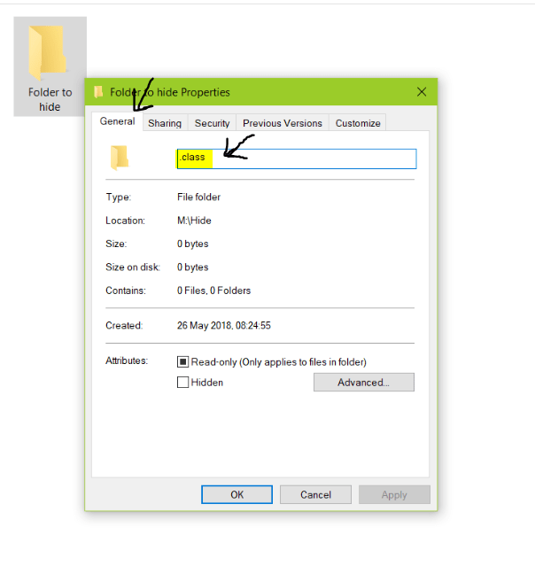 hide a folder in windows