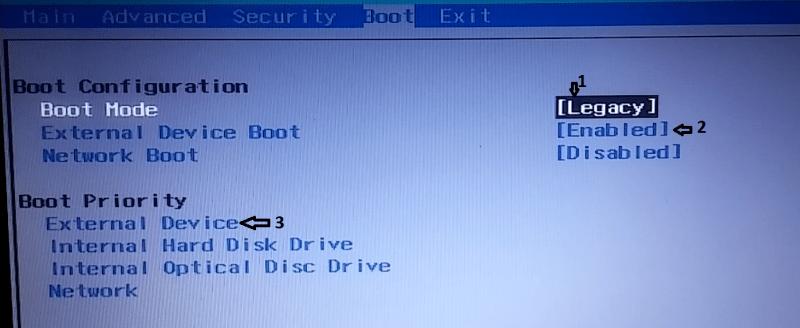 BIOS, booting live usb3