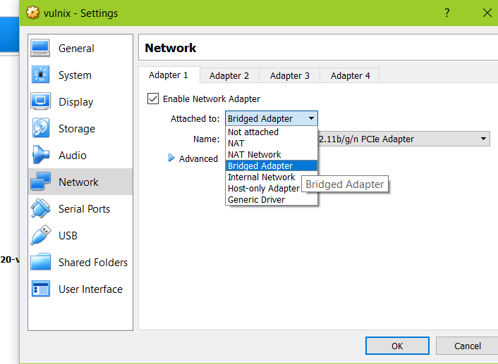 Virtualbox network settings bridged2