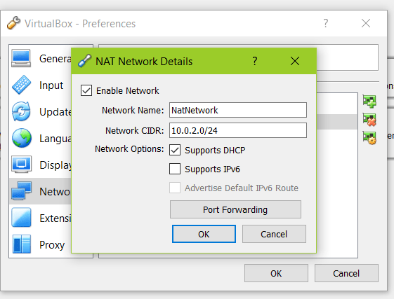 Virtualbox network settings NAT 2