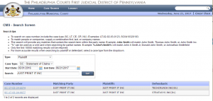 Court search results
