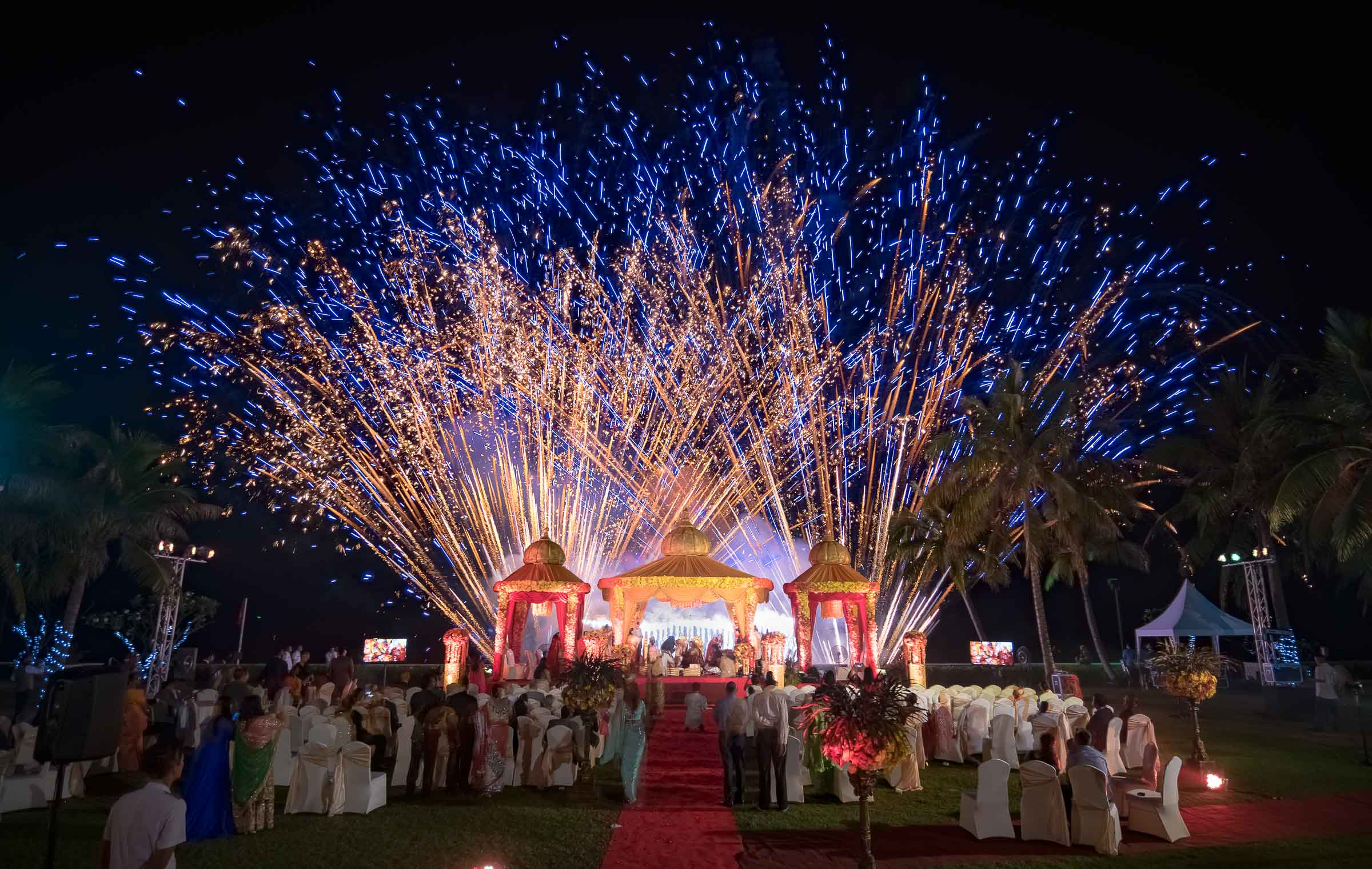 Brilliant Fireworks During A Destination Indian Wedding At Hua Hin Thailand