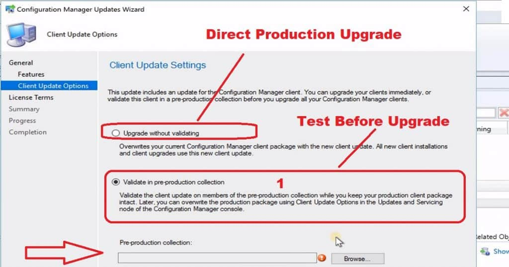 SCCM 1902 Client Upgrade Options Promote Pre-Production Client - SCCM 1910 Update