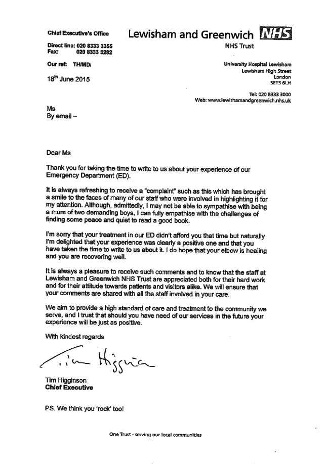 Anorak News NHS Complaint Letter Of The Year