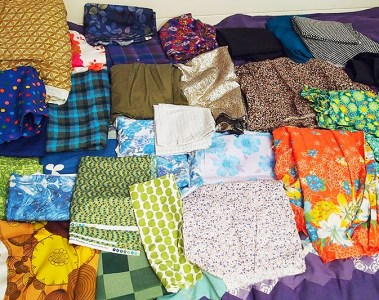 pile of sewing fabric