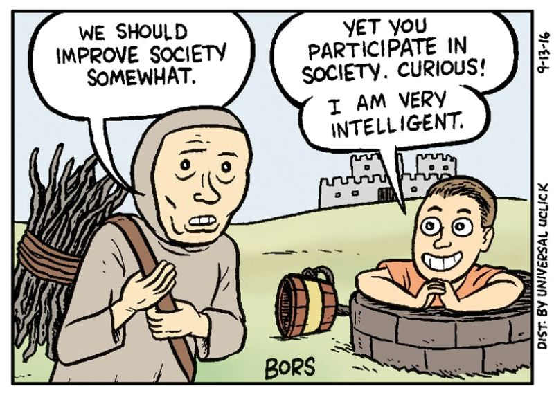 """""""We should improve society somewhat"""" cartoon"""
