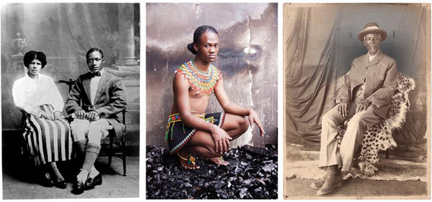 L |  From Santu Mofokeng, The Black Photo Album / Look at Me: 1890-1950, 1997; M |  Zanele Muholi, Ms Le Sishi I, Glebelands, Durban, from Beulahs, 2010;  R | Portrait of Kgama III, South Africa, early 20th century. Courtesy of the Walther Collection.