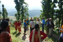 Villagers welcoming ABIN members to the school site