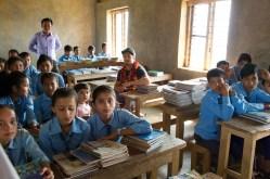 Kyle in Grade 9 class at Sharada School