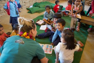 Liz visiting with the Sharada nursery class