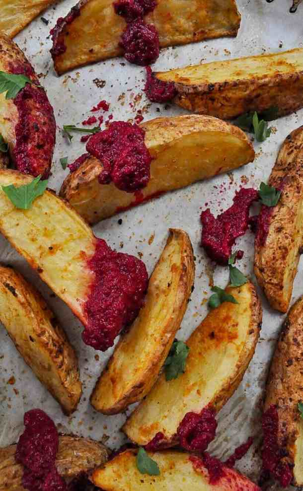 Beetroot Hummus & Wedges