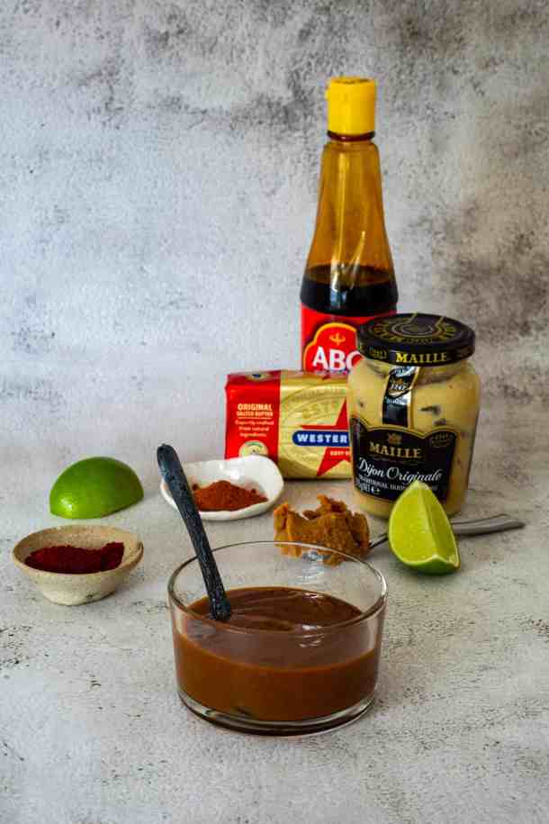 miso steak sauce in a jar and ingredients used to make it