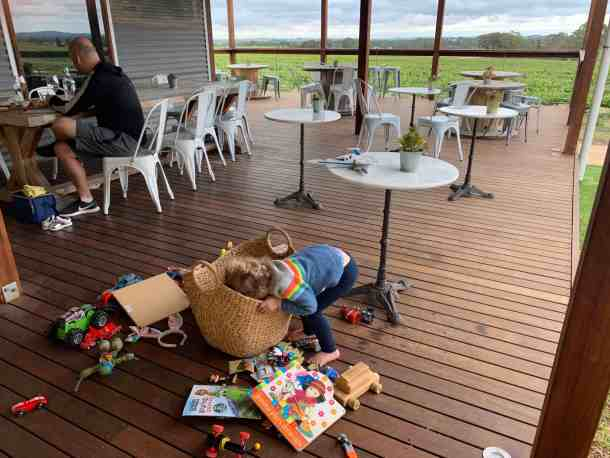 My daughter looking for toys in Seabrook winery