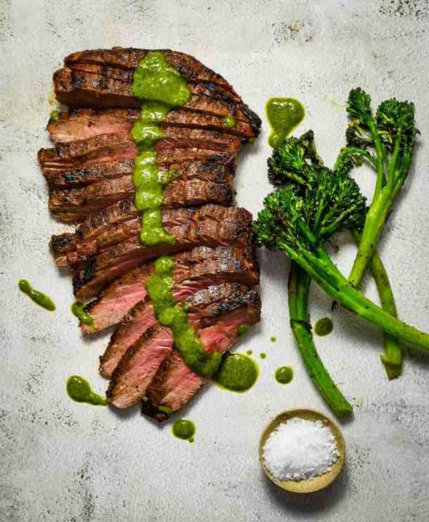 skirt steak, chimichurri & broccolini