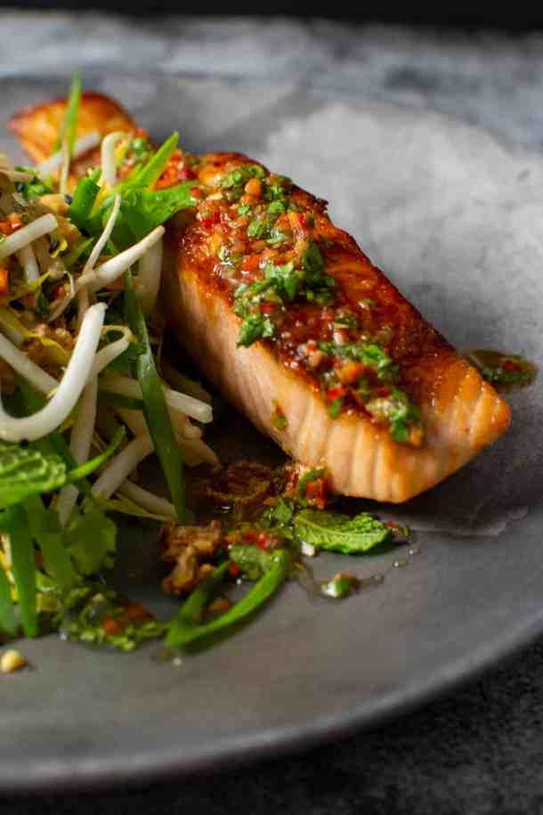 crispy salmon fillet, nam prik dressing & beansrout salad
