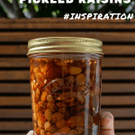 pickled raisins in a kilner jar