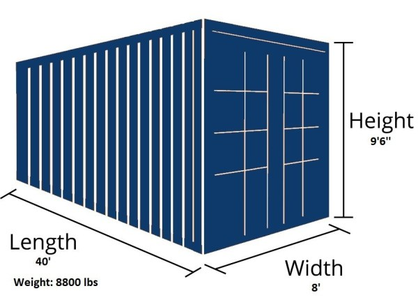 40 foot high cube container outside dimensions