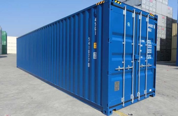 new blue shipping container
