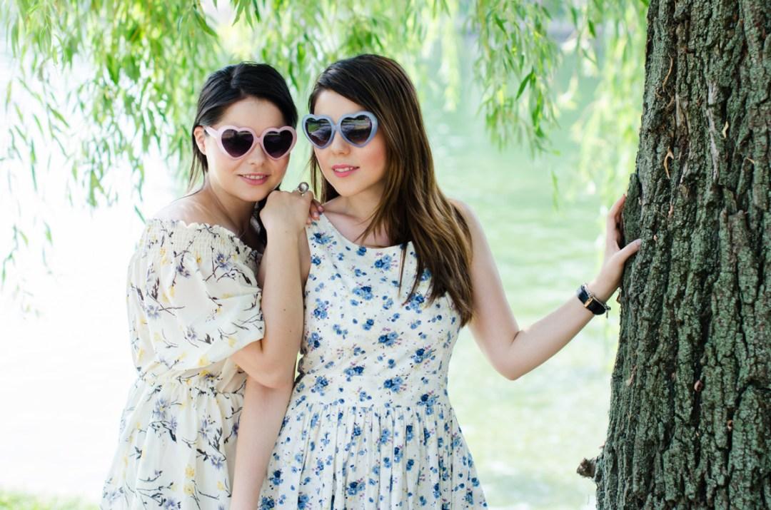 heart shaped sunglasses sisters