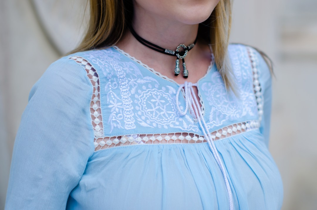zaful embroidered peasant blouse