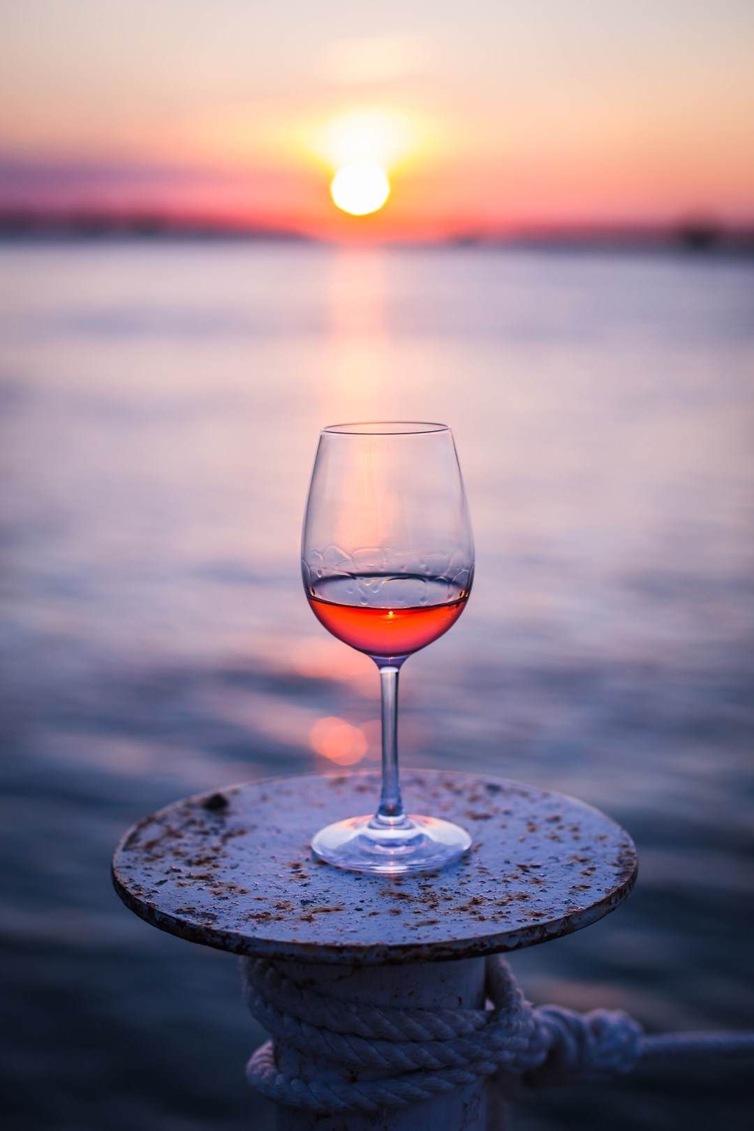 sunset in a glass of wine