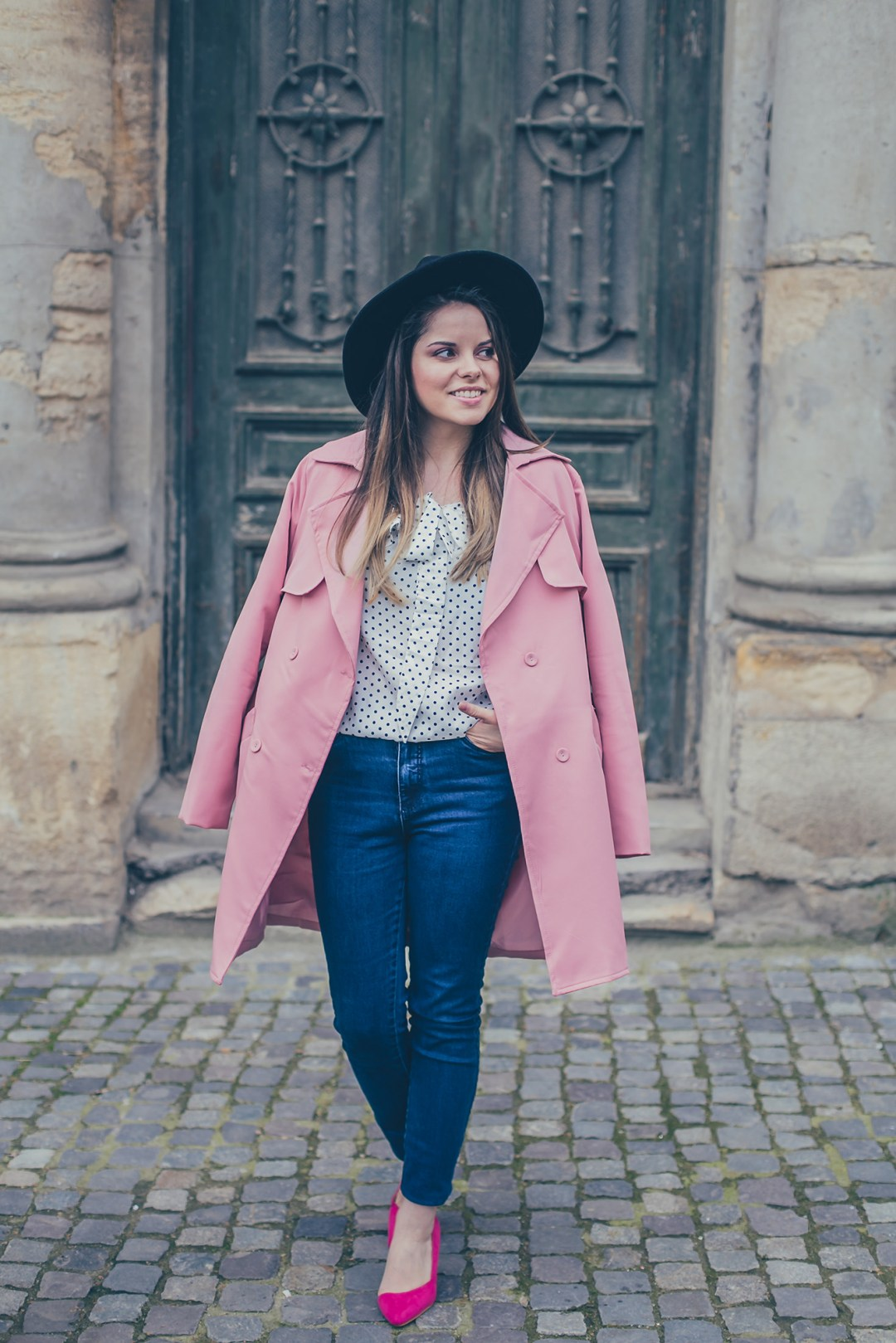 pink fall outfit