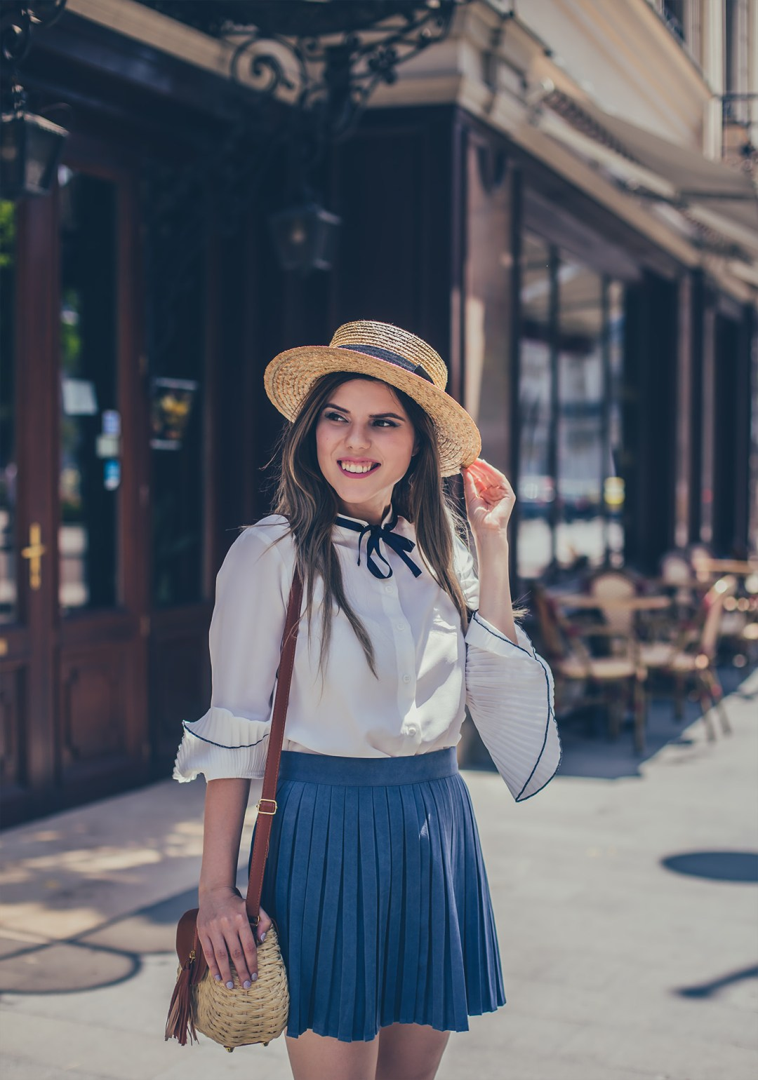 retro outfit bucharest lc walkiki straw hat