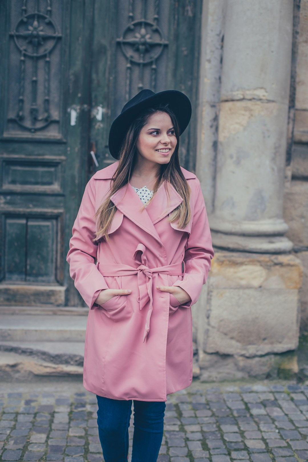 zaful pink trench coat