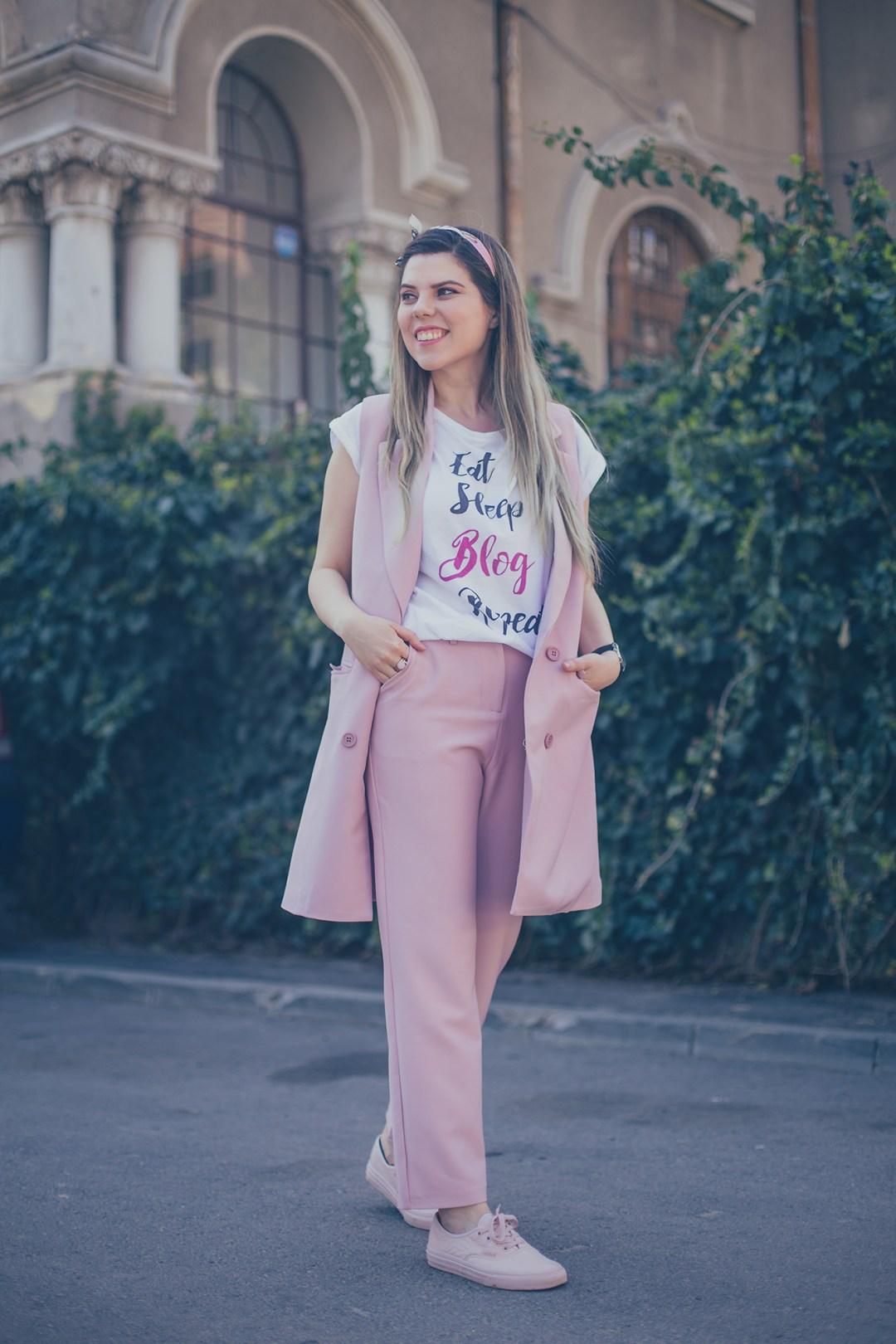 pink suit vest and pants