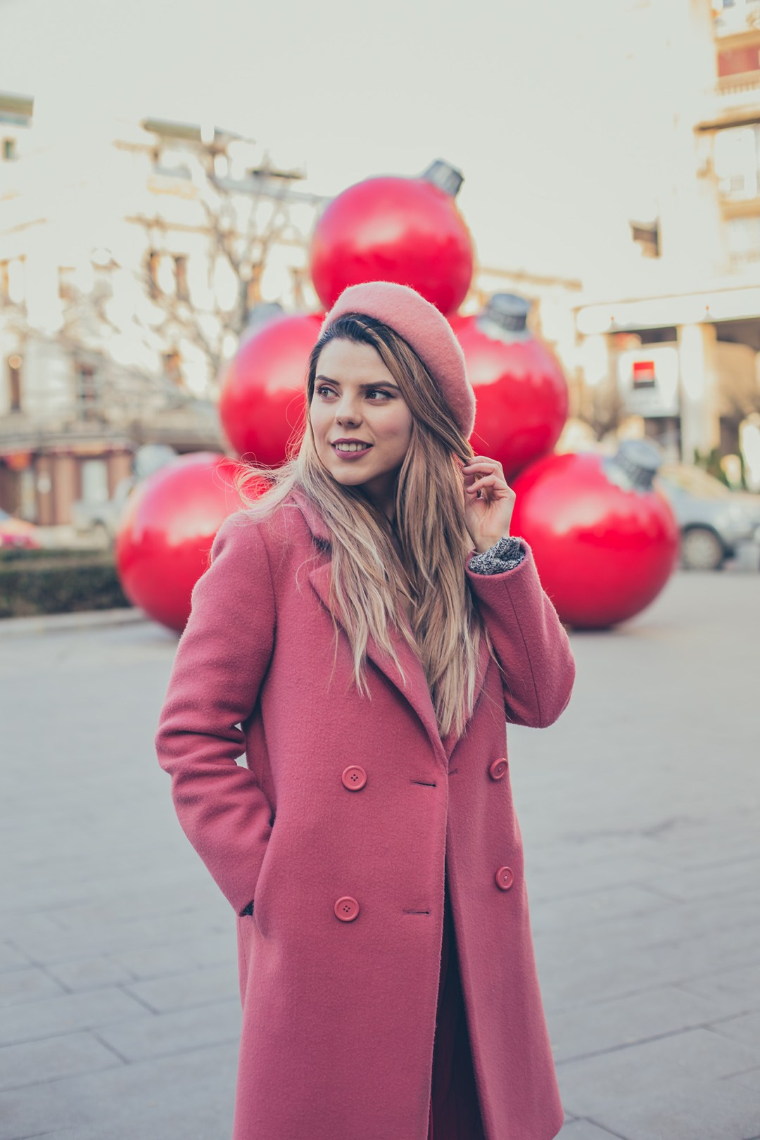 pink beret winter outfit