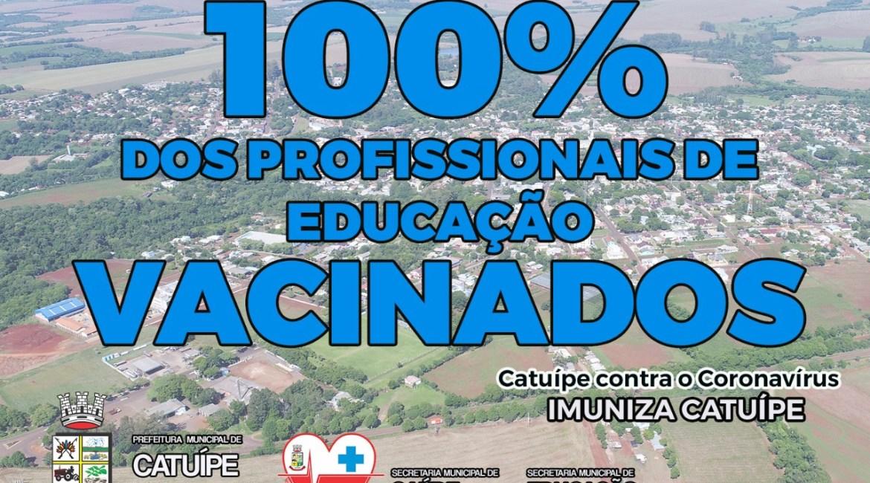 Covid-19: Catuípe imuniza 100% dos profissionais da educação