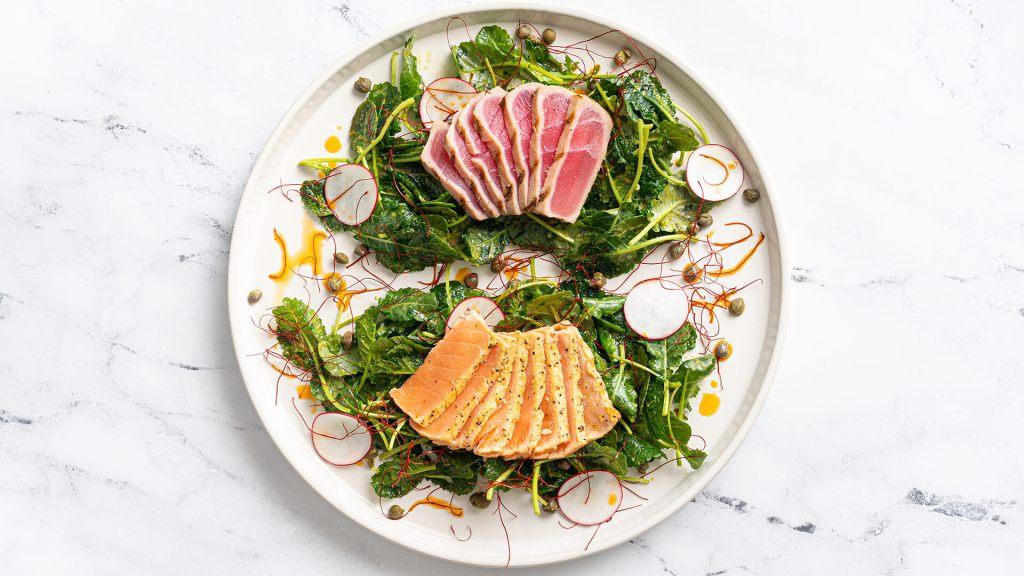 Ahi Tuna & Salmon Baby Kale Salad