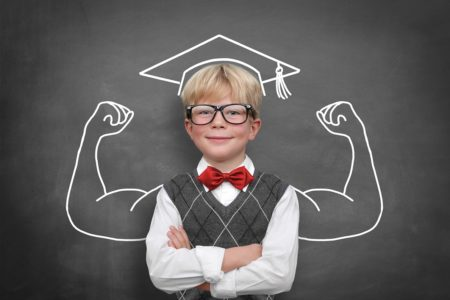 Iscrizione Schoolchild with muscle