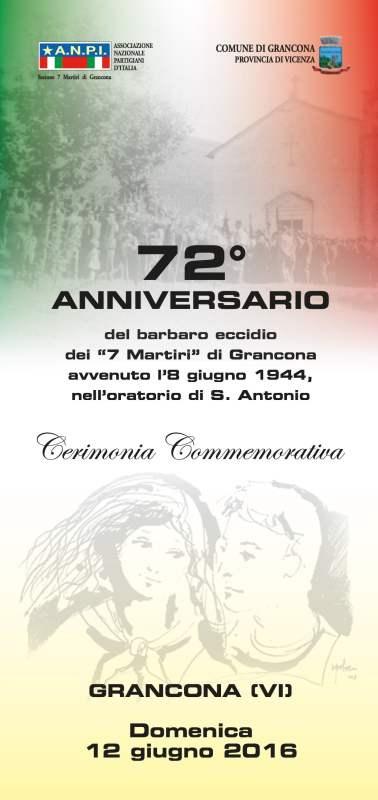 Locandina 72° anniversario martiri di Grancona