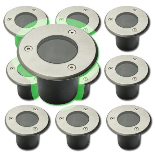 10 x spot exterieur encastrable pour led gu10 acier rond