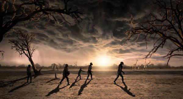 Rappresentazione artistica della passeggiata dei cinque ominidi che hanno lasciato le impronte nel sito di Laetoli 3,66 milioni di anni fa  (fonte: Dawid A. Iurino/CC BY 4.0)