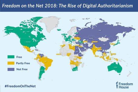 Freedom House, la mappa delle libertà Internet nel mondo © Ansa