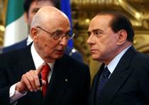 Il presidente della Repubblica Napolitano e il premier Silvio Berlusconi
