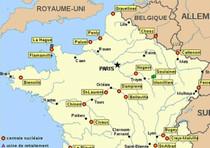 Una mappa delle centrali nucleari in Francia