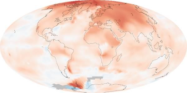 Le sfumature del rosso nella mappa indicano l'aumento delle temperature sulla Terra rilevato dal 2000 al 2009 (fonte: NASA)